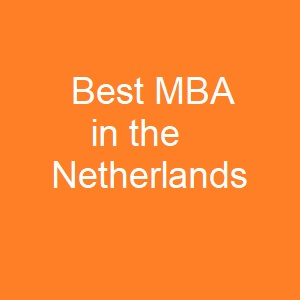 Best MBA in the Netherlands - MBA Spectrum